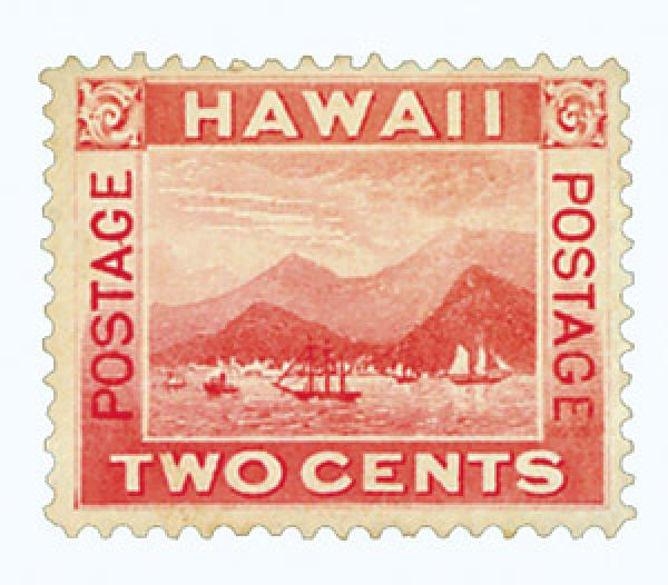 1899 2c Hawaii, rose, View of Honolulu