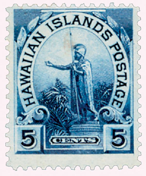 "1899 5c Hawaii, blue, ""cents"" added"