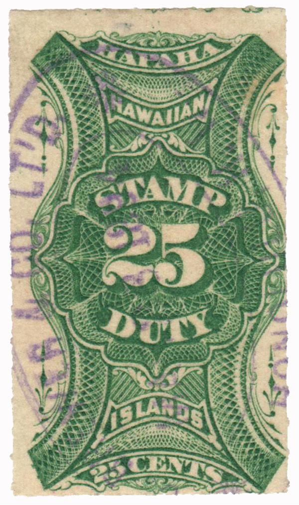1877 25c Hawaii Revenue Stamp, green, engraved, unwatermarked, roulettedetted 8