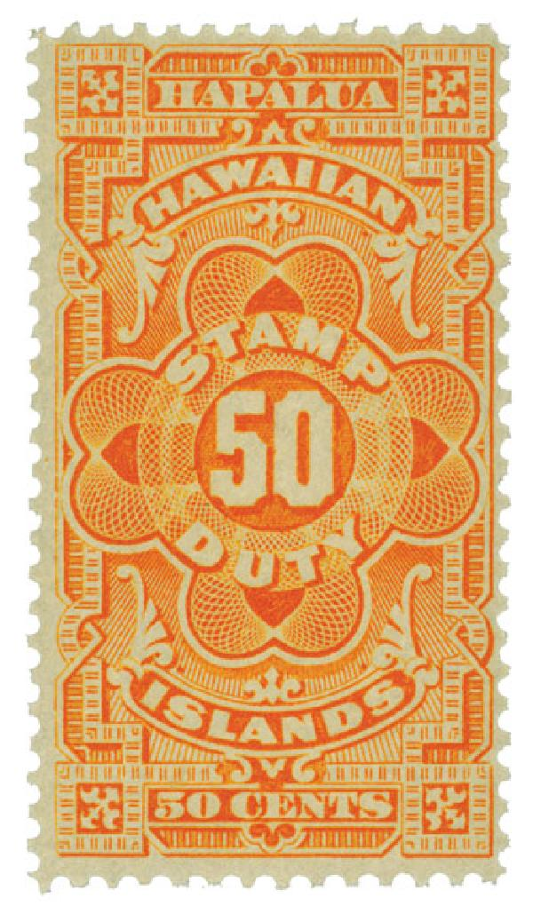 1910-13 50c Hawaii Revenue Stamp, yellow orange, engraved,  perf 12