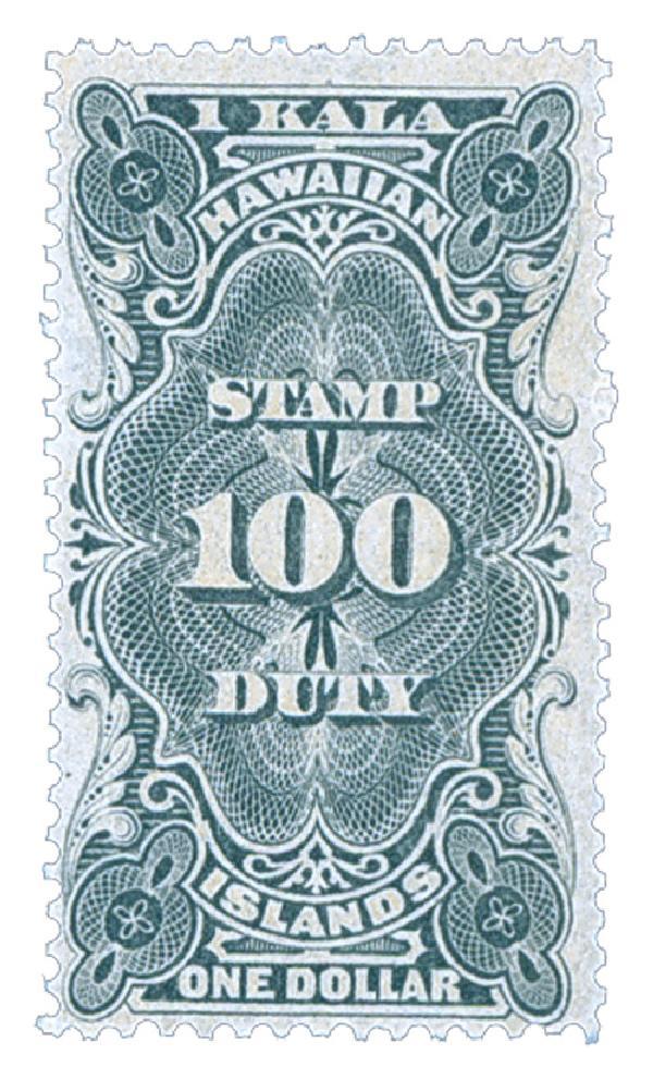 1910-13 $1 Hawaii Revenue Stamp, black, engraved,  perf 12