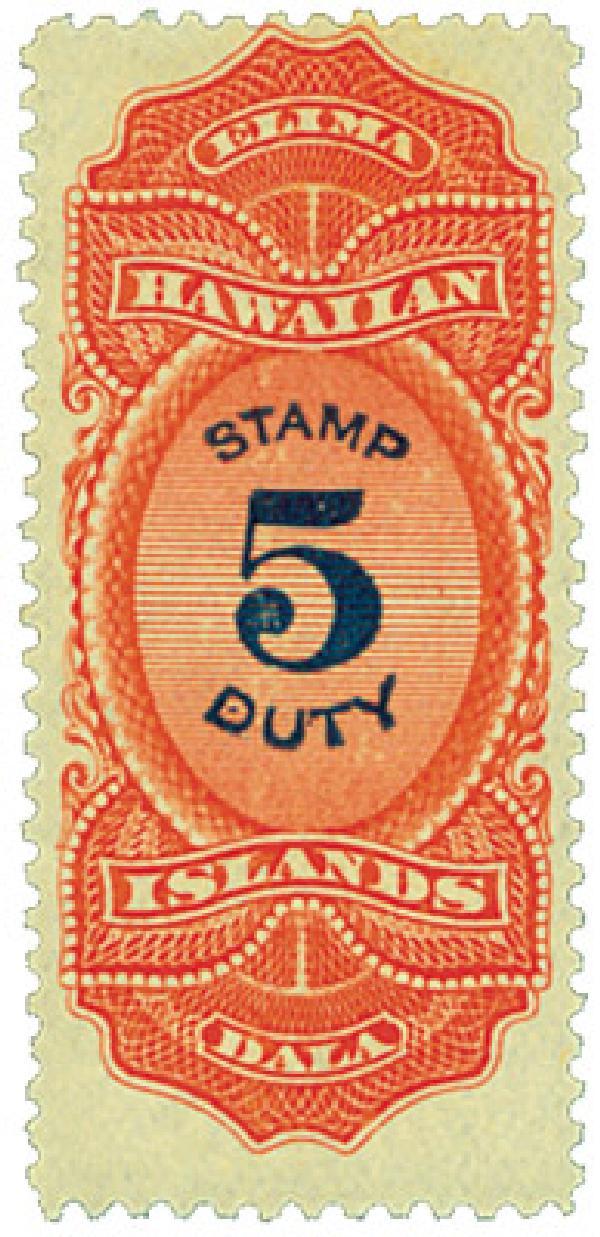 1910-13 $5 Hawaii Revenue Stamp, vermilion & violet blue, engraved, perf 12