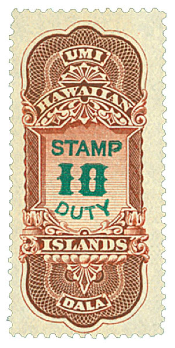 1910-13 $10 Hawaii Revenue Stamp, red brown & green, engraved, perf 12