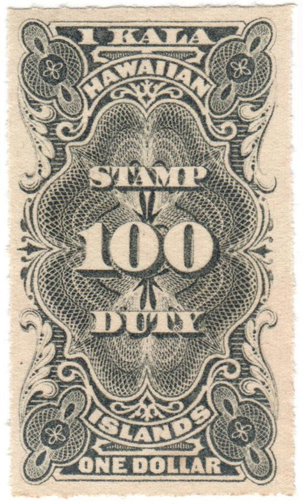 1877 $1 Hawaii Revenue Stamp, black, engraved, unwatermarked, rouletted 8
