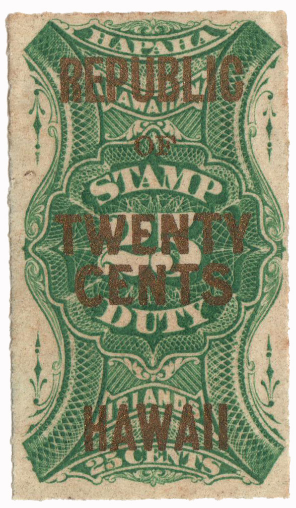 1893-94 20c on 25c Hawaii Revenue Stamp, green, surcharge in gold
