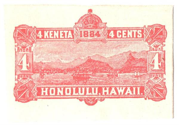 1884 4c Hawaii Stamped Envelope, red, envelope white inside & out