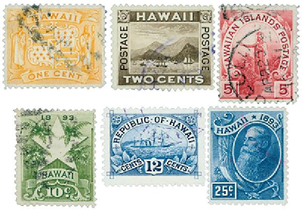 1894 Hawaii, Set of 6 Stamps, Used with Free Album Pages