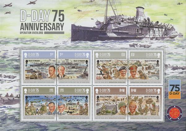 2019 D-Day 75th Anniversary, Mint, Sheet of 8 Stamps, Isle of Man