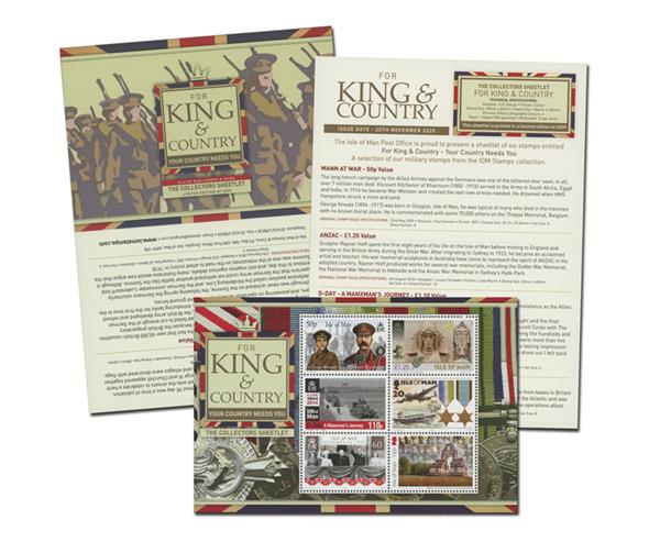 "2020 For King and Country - ""Your Country Needs You"" Mint, Sheet of 6 Stamps with Collector Folder, Isle of Man"