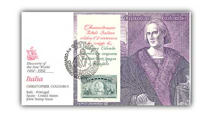 1992 Italy Christopher Columbus FDC; Italy & Spain Joint Issue