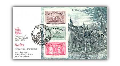 1992 Italy Claiming New World FDC