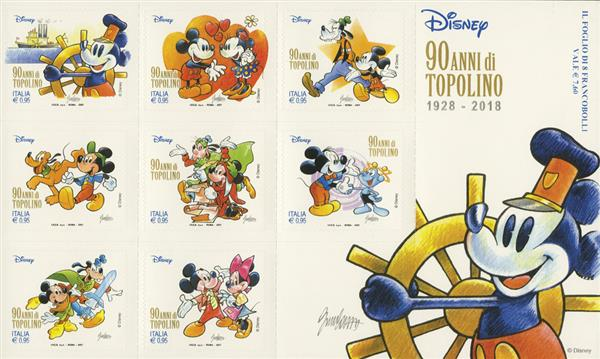 2017 Mickey Mouse 90th Anniversary sheet of 8 stamps