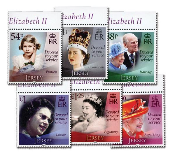2021 Queen Elizabeth II 95th Birthday, Mint, Set of 6 Stamps, Jersey
