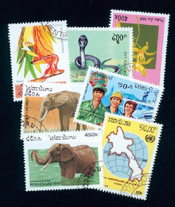 Laos, 154 used stamps - $50 Scott Value