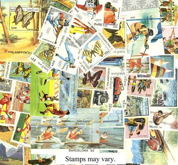 1991 Laos set of 42 stamps, mint