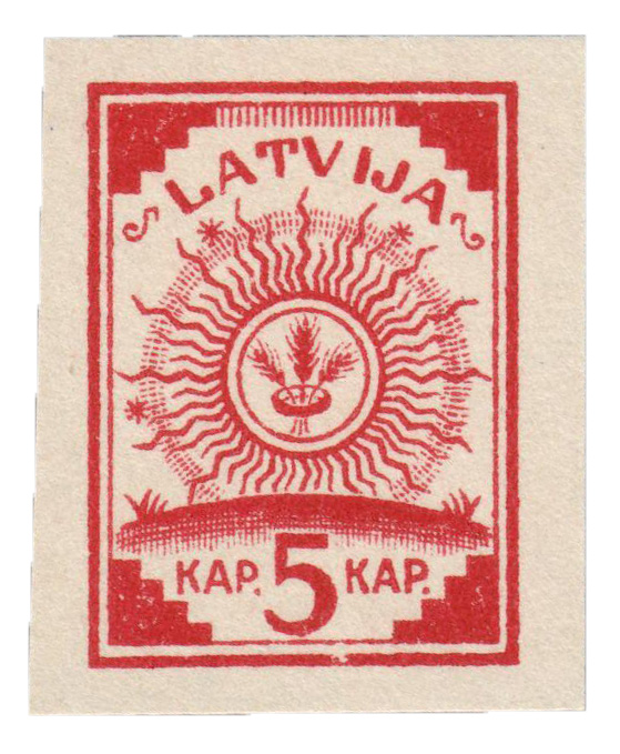 1918 Latvia Map Stamp With No Map on Back