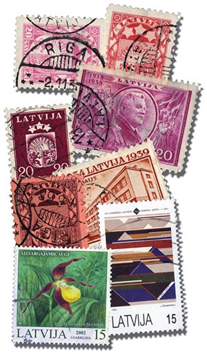 Latvia, 50 stamps, used