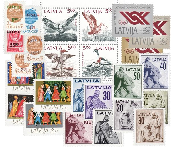 Complete 1992 Latvia Year Set, 25 Mint Stamps