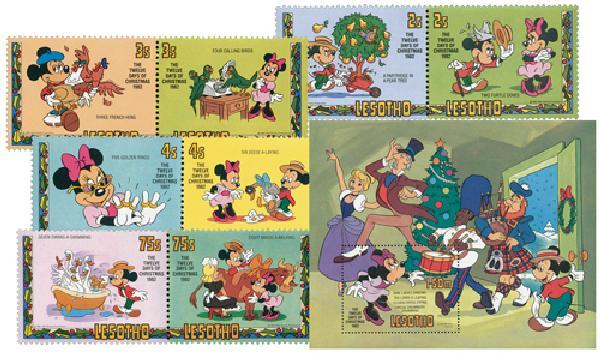 1982 Disney & Friends Celebrate Christmas, Mint, Set of 4 pairs and Souvenir Sheet, Lesotho