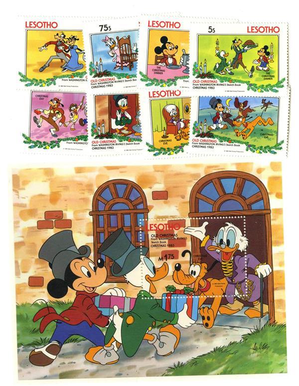 1983 Disneys & Friends - Old Christmas -Washington Irving Sketch Book, Mint, Set of 8 Stamps & Souvenir Sheet, Lesotho