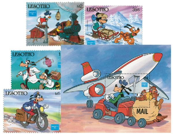 1986 Disney and Friends Commemorate AMERIPEX 86, Mint, Set of 4 Stamps and Souvenir Sheet, Lesotho