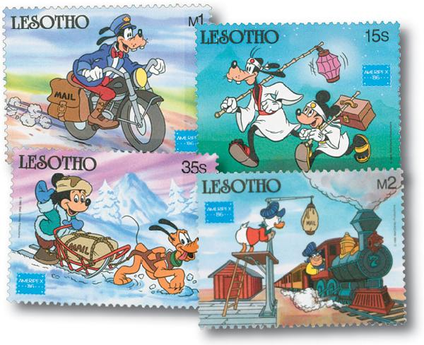 1986 Disney and Friends Commemorate AMERIPEX 86, Mint, Set of 4 Stamps, Lesotho