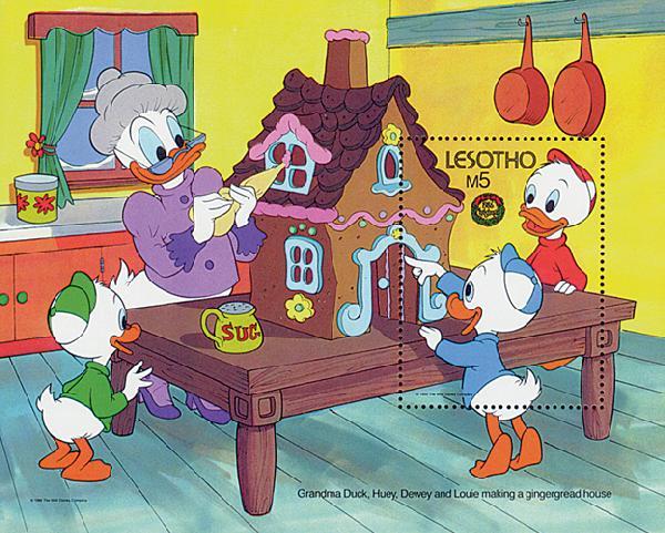 1986 Disney and Friends Celebrate Christmas, Mint Souvenir Sheet, Lesotho