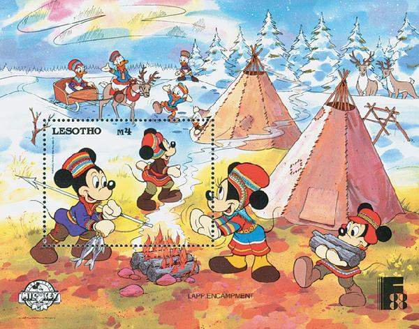 1988 Disney and Friends Commemorate FINLANDIA 88 Stamp Expo, Mint Souvenir Sheet, Lesotho