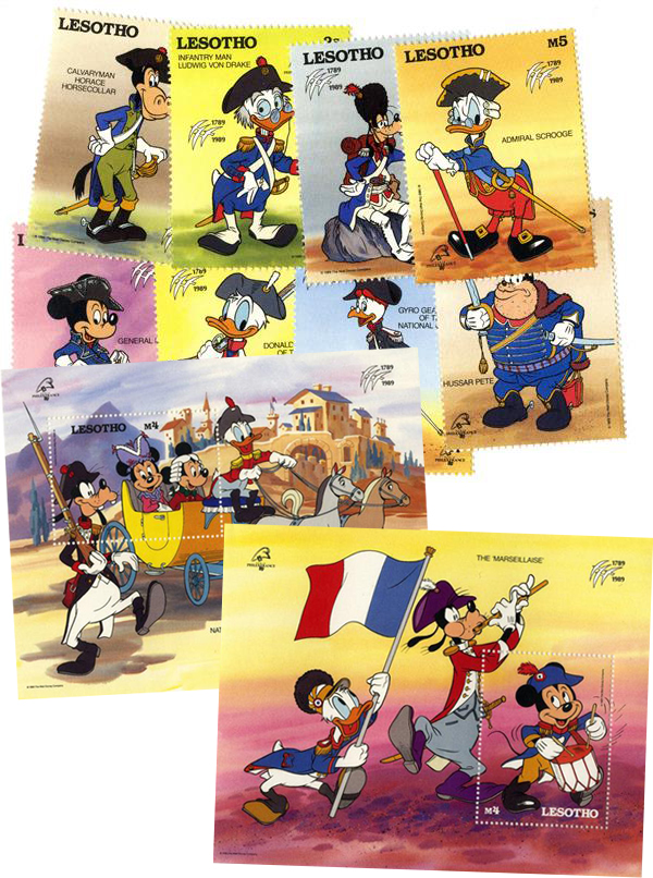 1989 Disney and Friends Commemorate PHILEXFRANCE 89 Stamp Expo, Mint, Set of 8 Stamps and 2 Souvenir Sheets, Lesotho
