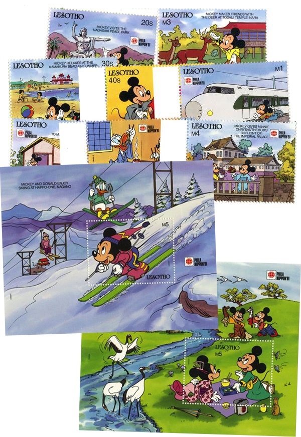 1991 Disney and Friends Commemorate PHILANIPPON 91 Stamp Expo, Mint, Set of 8 Stamps and 2 Souvenir Sheets, Lesotho