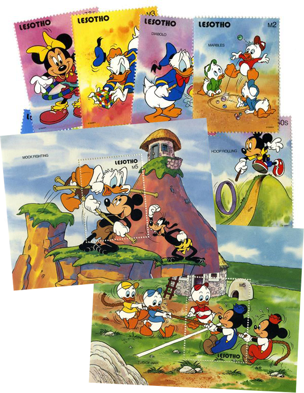 1991 Disney and Friends, Play Childhood Games, Mint, Set of 8 Stamps and 2 Souvenir Sheets, Lesotho