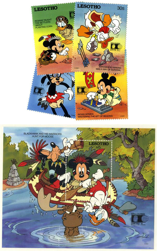 1992 Disney an Friends Commemorate World Stamp Expo 92, Mint, Set of 4 Stamps and Souvenir Sheet, Lesotho