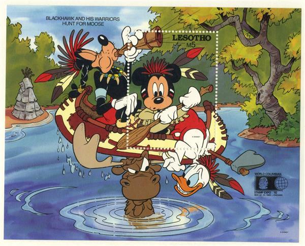 1992 Disney an Friends Commemorate World Stamp Expo 92, Mint Souvenir Sheet, Lesotho