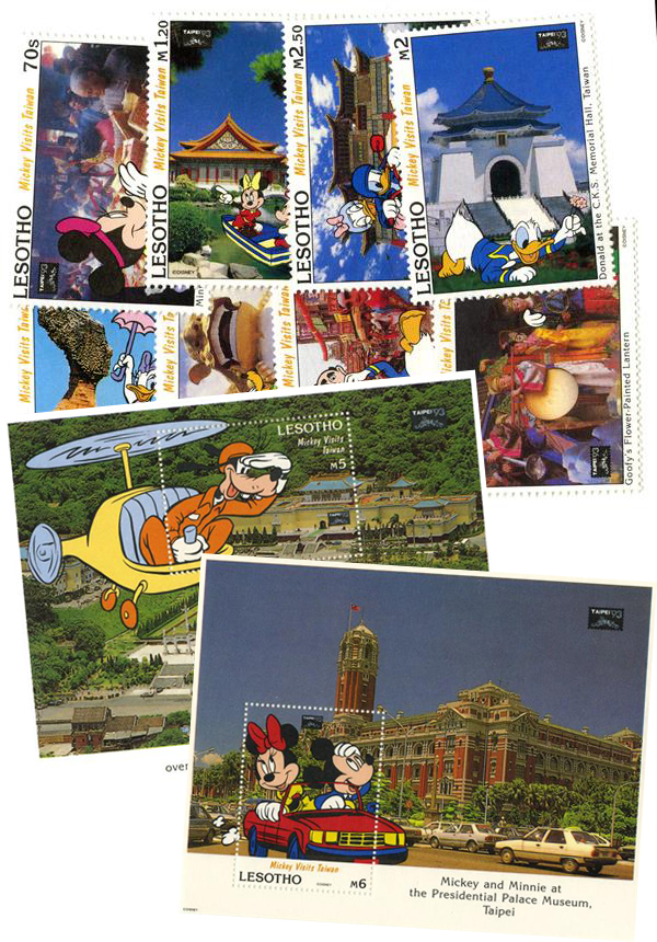 1993 Disney & Friends At Taipei Asian International Stamp Exhibition, Mint, 8 Stamps and 2 Souvenir Sheets, Lesotho