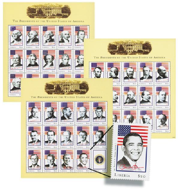 2009 Liberia US Presidents Stamps 45v