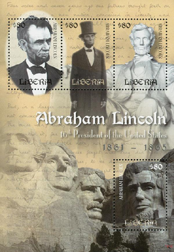 2010 Liberia Lincoln 4v Mint