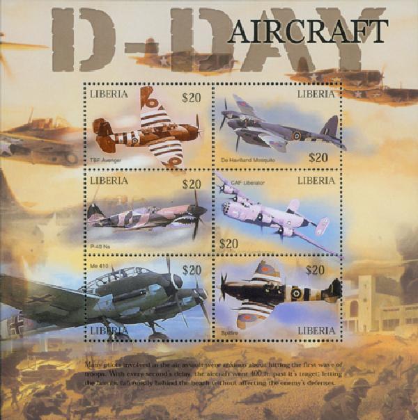 2004 Liberia D-Day Aircraft 6v M