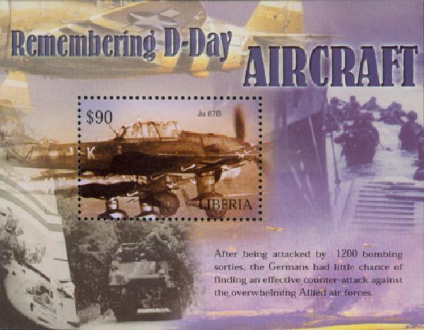 2004 $90 Remembering D-Day-Ju 87B Aircraft, Mint Souvenir Sheet, Liberia