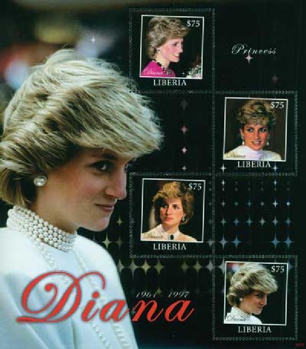 2010 Liberia Princess Diana 4v M