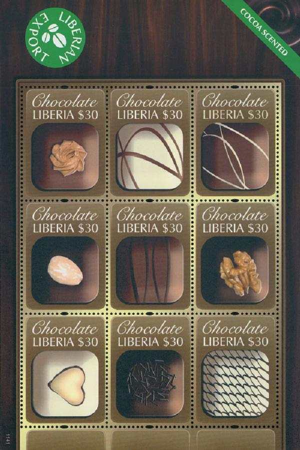 2011 Liberia Chocolate Scented Stamps M