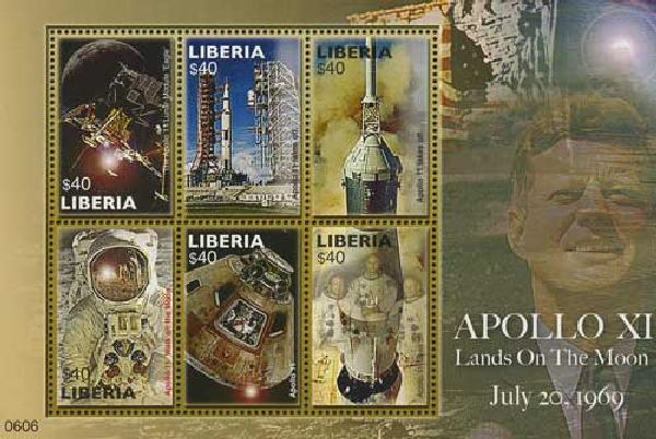 2006 Liberia Apollo XI Lands on Moon