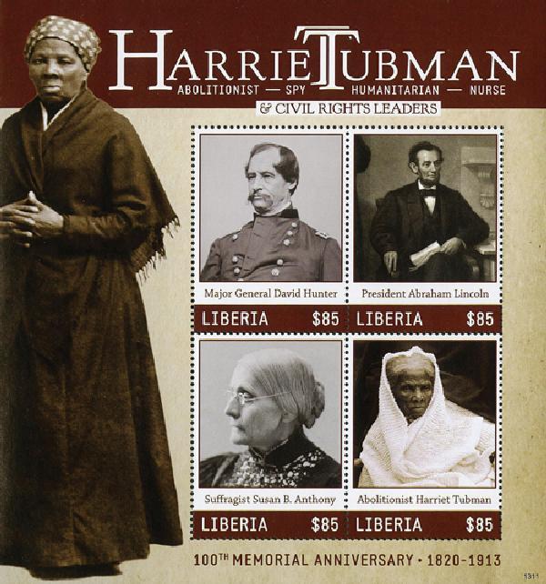 2013 Liberia Harriet Tubman Sheet of 4