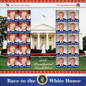 2016 $20.16 Hillary Clinton and Donald Trump Presidential Candidates, Mint, Sheet of 20 Stamps, Liberia