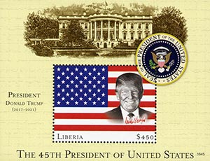 2016 $450 President Trump, Mint Souvenir Sheet, Liberia