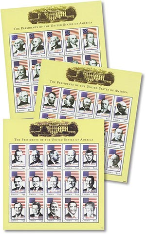U.S. Presidents, Mint, Set of 3 Sheets, Liberia
