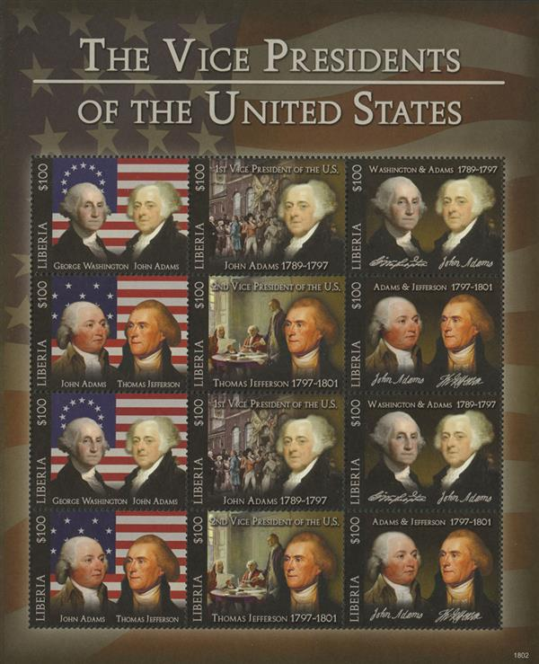 2018 $100 John Adams & Thomas Jefferson, Vice Presidents sheet of 12