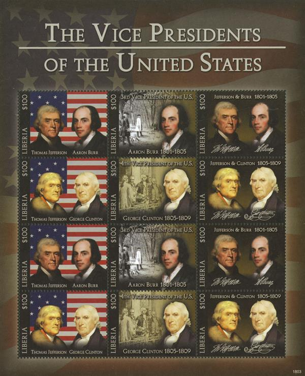 2018 $100 Aaron Burr & George Clinton, Vice Presidents sheet of 12