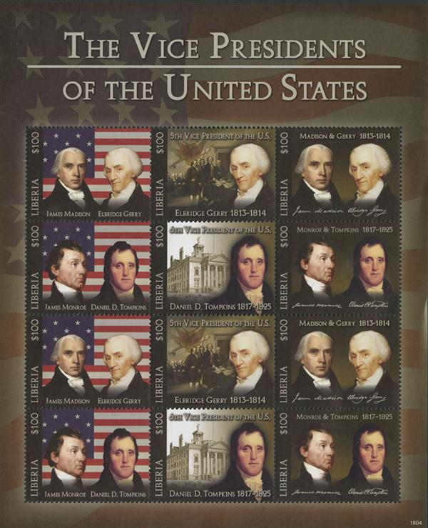 2018 $100 Elbridge Gerry & Daniel Tompkins, Vice Presidents sheet of 12