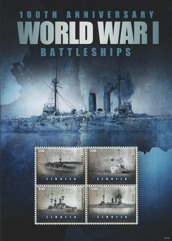 2014 $100 100th Anniversary of World War I; Battleships; Sheet of 4