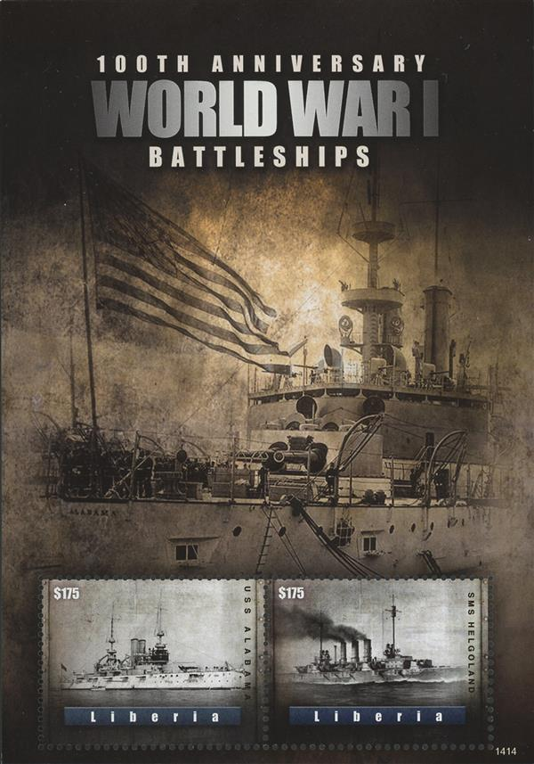 2014 $175 100th Anniversary of World War I; Battleships; Souvenir Sheet of 2
